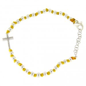 Silver bracelets: Bracelet with silver spheres sized 3 mm with yellow cotton knots and white zirconate cross