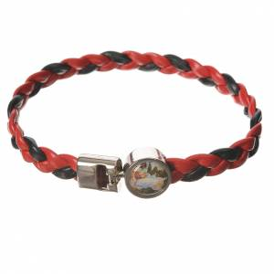 Braided bracelet, 20cm red and black with Angel s1
