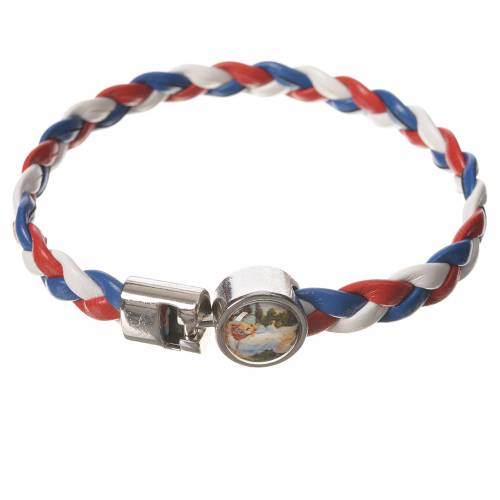 Braided bracelet, 20cm white, red, blue with Angel s1