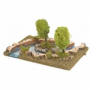 Ponts, ruisseaux, palissades pour crèche: Bras de rivière avec îlot pour crèche de Noël