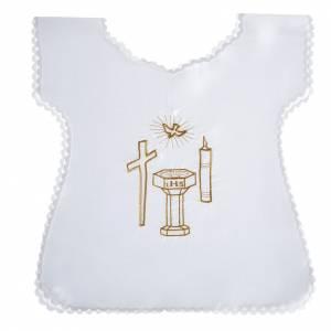 Brassière baptême colombe croix cierge fonts baptismaux satin s1