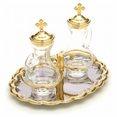 Burettes en verre, plateau nickelé et doré s4