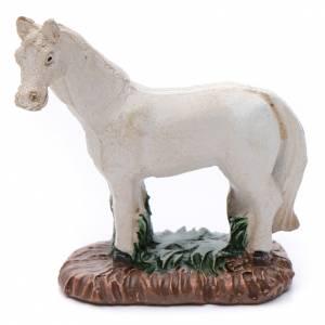 Animales para el pesebre: Caballo de resina blanco para belén 6 cm
