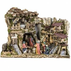 Portales, cabañas y cuevas: Cabaña con gente y fuente para pesebre 80x110x70cm
