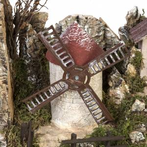 Cabaña con molino a viento parapesebre 38x56x30cm s3