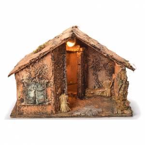 Belén napolitano: Cabaña en madera con espejo belén Nápoles 45x56x45