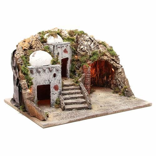 Cabaña y ambientación árabe con luz para belén 28x50x40 cm s3