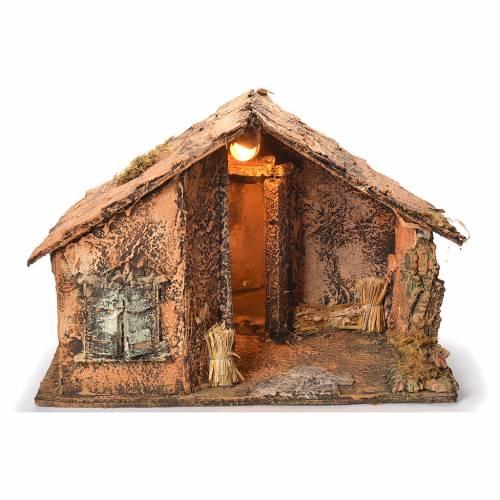 Cabane en bois avec miroir crèche napolitaine 45x56x45 cm s1
