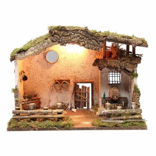 Cabane rurale illuminée crèche 36x50x26 cm avec taverne et fontaine s1