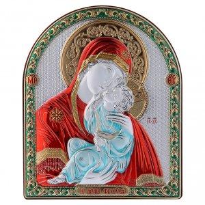 Bas reliefs en argent: Cadre bi-laminé support bois massif finitions dorées Vierge Vladimir rouge 16,7x13,6 cm