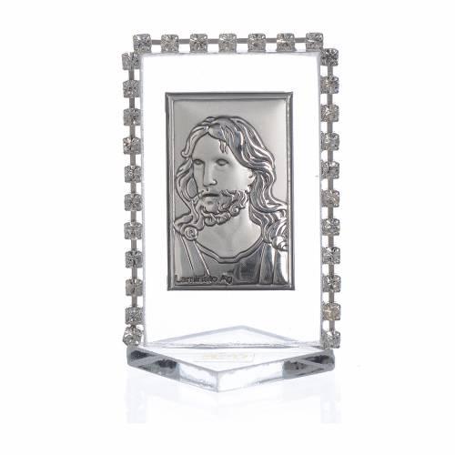 Cadre Christ avec strass 5,5x3,5 cm s1