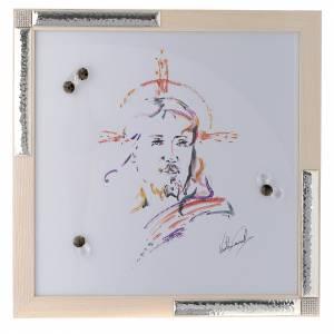 Bonbonnières: Cadre Christ Espoir aquarelle avec argent 36x36 cm