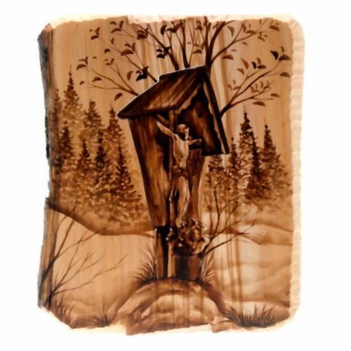 Cadre en bois, croix taillée Azur Loppiano s1