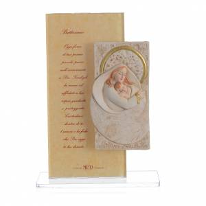 Bonbonnières: Cadre Maternité avec prière Baptême ITA h 15,5 cm