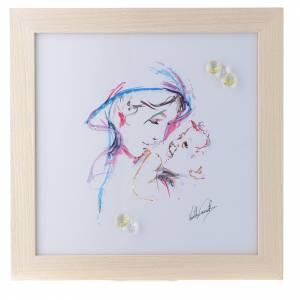 Bonbonnières: Cadre Mère Protectrice impression aquarelle 27x27 cm cristaux