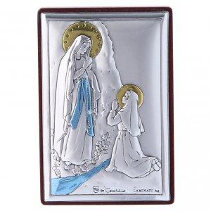 Bas reliefs en argent: Cadre Notre-Dame de Lourdes en bi-laminé avec support en bois massif 6x4 cm