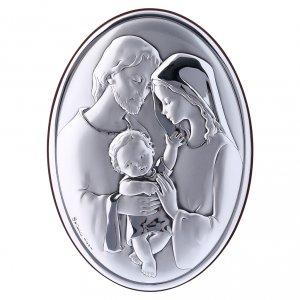 Bas reliefs en argent: Cadre ovale en bi-laminé avec arrière en bois massif Sainte Famille 18x13 cm