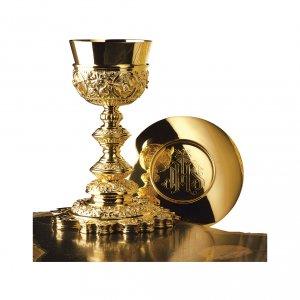 Calice e Patena Molina Barocco stella argento 925 dorato s1