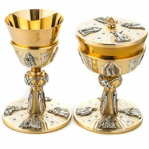 Calici Pissidi Patene metallo: Calice e pisside ottone cesellato Evangelisti