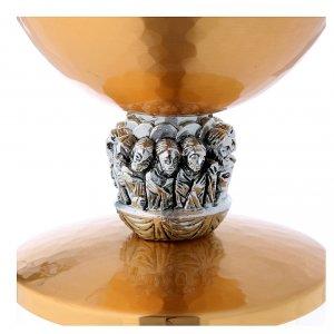 Calice e pisside ottone argento con scena Ultima Cena s5