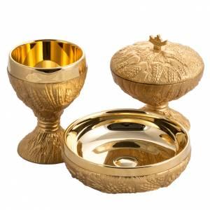 Calice pisside patena spighe ottone e bronzo fuso s1