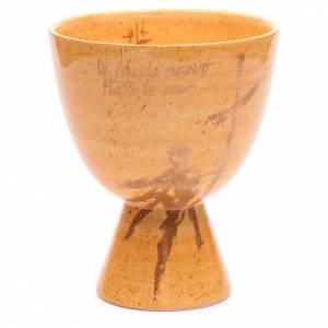 Cálices Copones Patenas cerámica: Cáliz de cerámica con copa, color mostaza