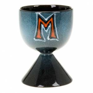 Cálices Copones Patenas cerámica: Cáliz de cerámica turquesa símbolo mariano