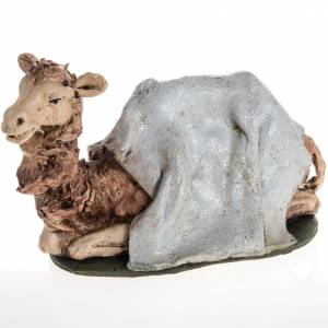Belén terracota Deruta: Camello azul  para el pesebre en arcilla de 18cm