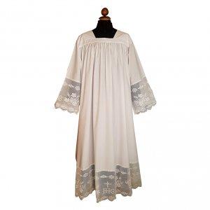 Camice misto lana scollo quadrato arricciatura merletto IHS s1
