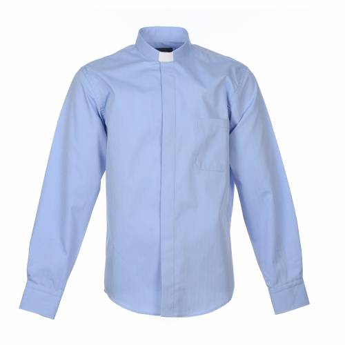 Camicia clergy M. Lunga Facile stiro Spigato Misto cotone Celeste s1