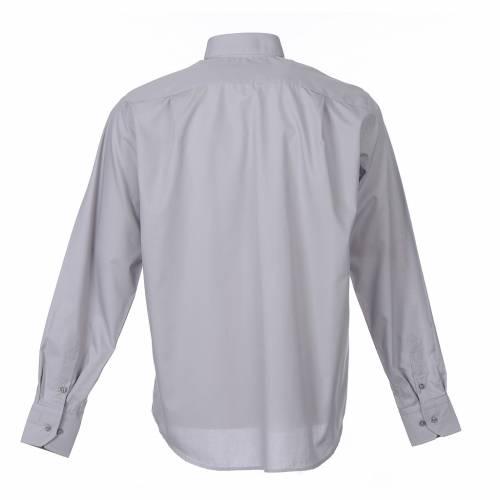Camicia clergy M. Lunga tinta unita Misto cotone Grigio chiaro s2