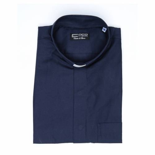 Camicia clergy misto cotone poliestere blu m. corta s4