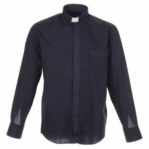 Camicia clergy tinta unita e diagonale blu manica lunga s1