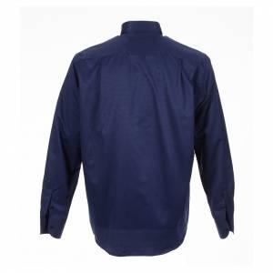 Camisas Clergyman: Camisa clergy jacquard azul maga larga