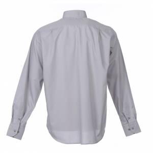 Camisas Clergyman: Camisa Clergy Manga Larga Color Uniforme Mixto Algodón Gris claro