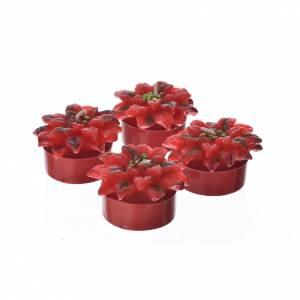 Candele stella di Natale rosse set 4 pz s1