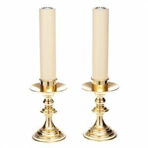 Candelieri metallo: Coppia candelieri altare ottone lucido