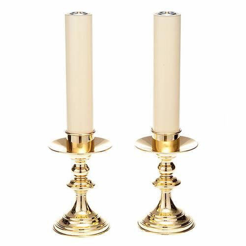 Coppia candelieri altare ottone lucido s1