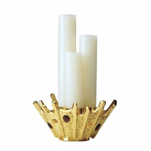 Candeliere tripla candela ottone dorato pietre viola s1