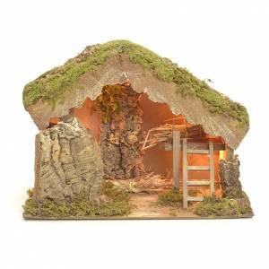 Capanne Presepe e Grotte: Capanna cm 24X33X18 con luci