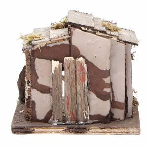 Capanna legno presepe napoletano 13x12x11 cm s4
