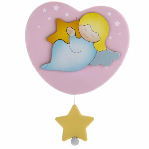 Carillon coeur rose ange et étoile s1