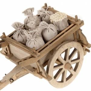 Herramientas de trabajo: Carrito de madera para pesebre 12x15 cm