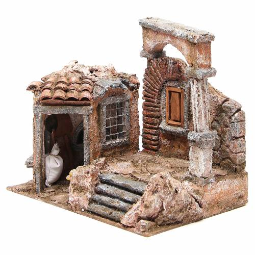 Casa con capanna colonna romana presepe 28x30x20 cm s2