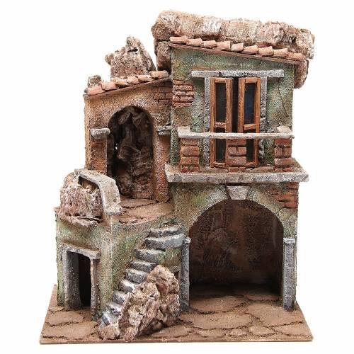Casa con capanna del presepe cm 35x29x22 cm s1