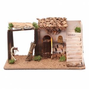 Ambientazioni, botteghe, case, pozzi: Casa illuminata presepe in sughero con scala 15x25x15