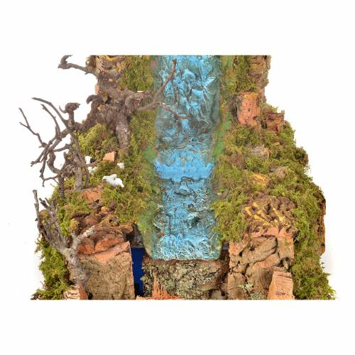 Cascade voile avec ruisseau et pompe 60x34 cm s4