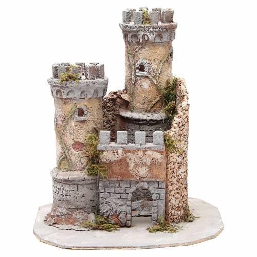 Castle for Neapolitan nativity scene in cork 30x26x26cm s1