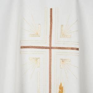 Casula liturgica poliestere croce dorata spighe s2