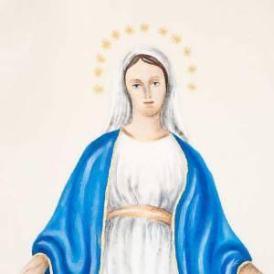 Casula mariana Madonna e simbolo 100% lana dipinta a mano s4